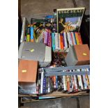 FOUR BOXES OF DVD'S, CD'S, BOOKS ETC, including a Sony HP3 CD player and speakers (not tested), over