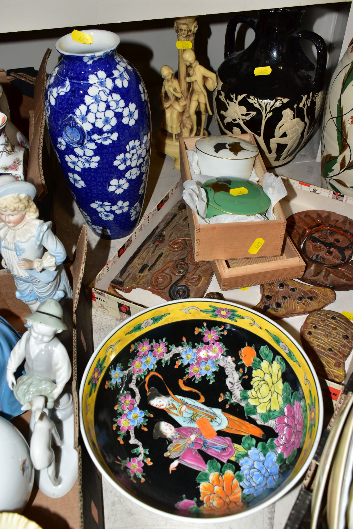 TWO BOXES AND LOOSE ORNAMENTS, VASES, ROYAL COMMEMORATIVES etc, to include Cauldon Ware Prunus - Image 2 of 8