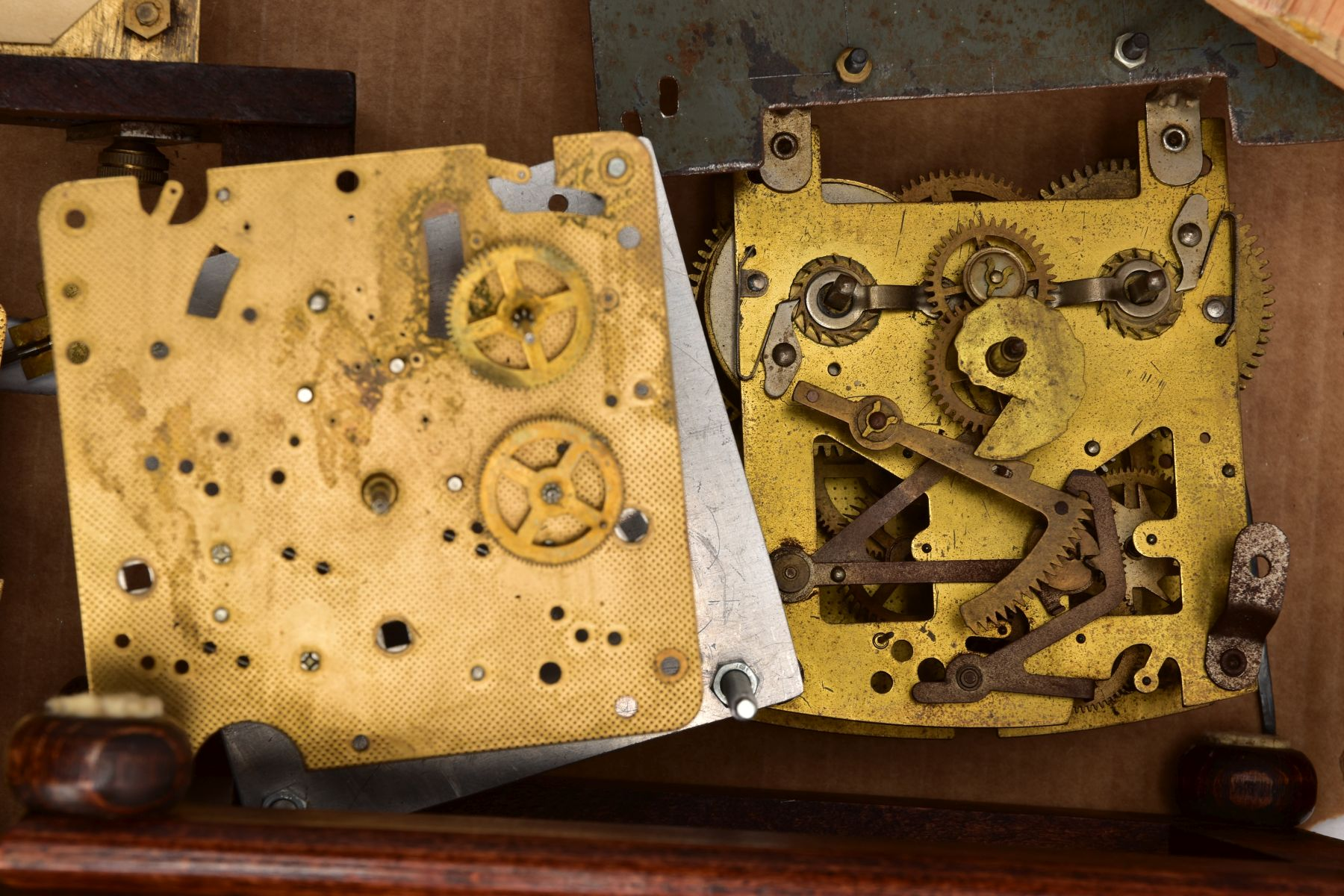 BOX CONTAINING A QUANTITY OF CLOCK PARTS AND MOVEMENTS, to include a wooden outer case with a - Image 2 of 6