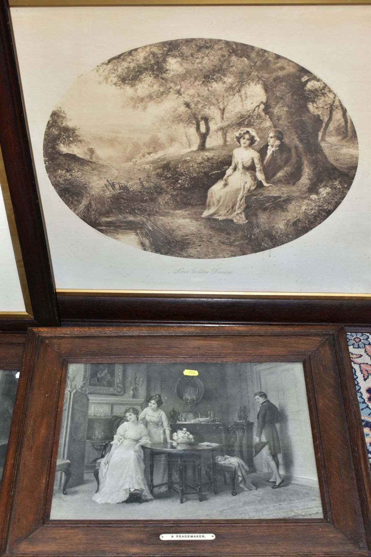 EARLY 20TH CENTURY OAK FRAMED MONOCHROME PRINTS, comprising 'For King and Country' by Graham - Image 2 of 4