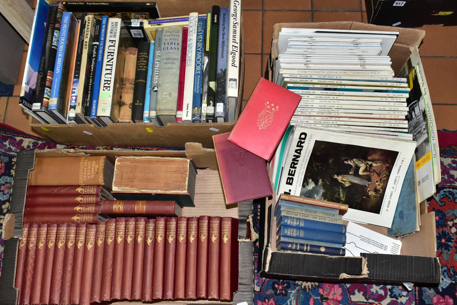 BOOKS, three boxes containing approximately sixty two titles including Reference, Furniture,
