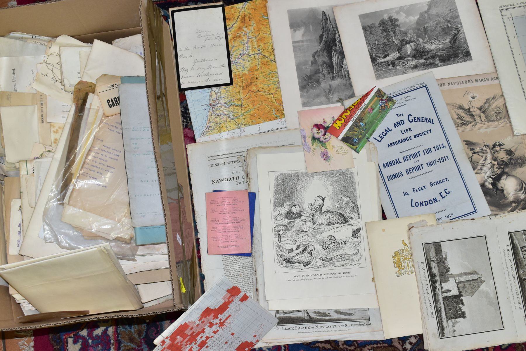 EPHEMERA, THREE BOXES OF PAPER EPHEMERA, to include newspapers/cuttings, maps, indentures, - Image 4 of 4