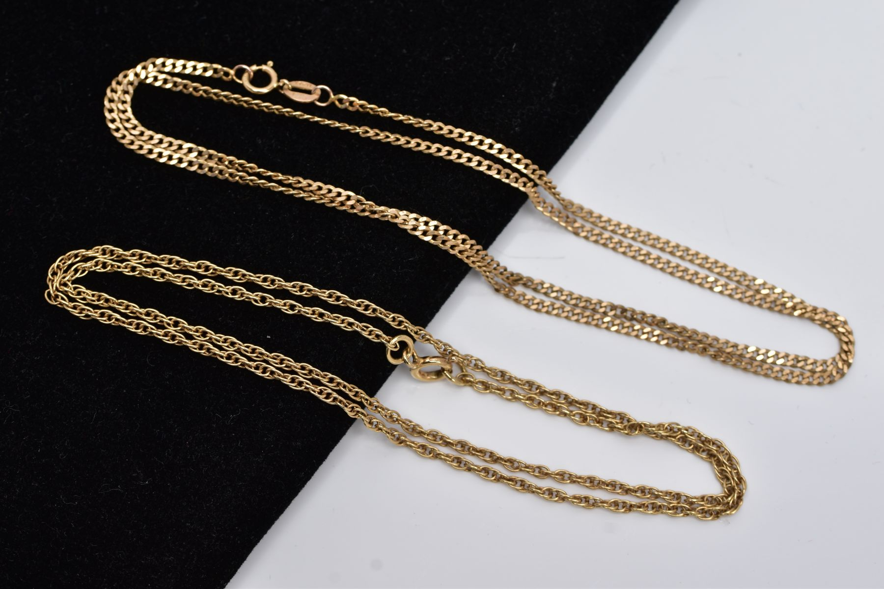 TWO 9CT GOLD CHAINS, the first a Prince of Wales chain, fitted with a spring clasp, hallmarked 9ct