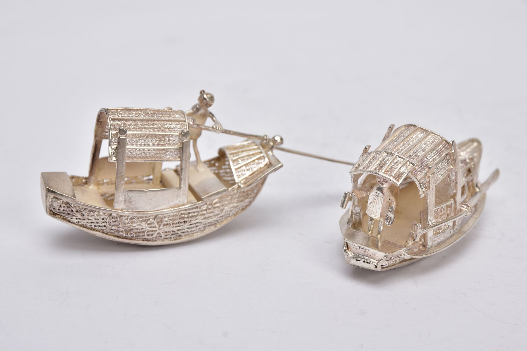 TWO MODERN ORIENTAL, WHITE METAL FILIGREE BOAT ORNAMENTS, one with a standing figure with paddle, - Image 8 of 8