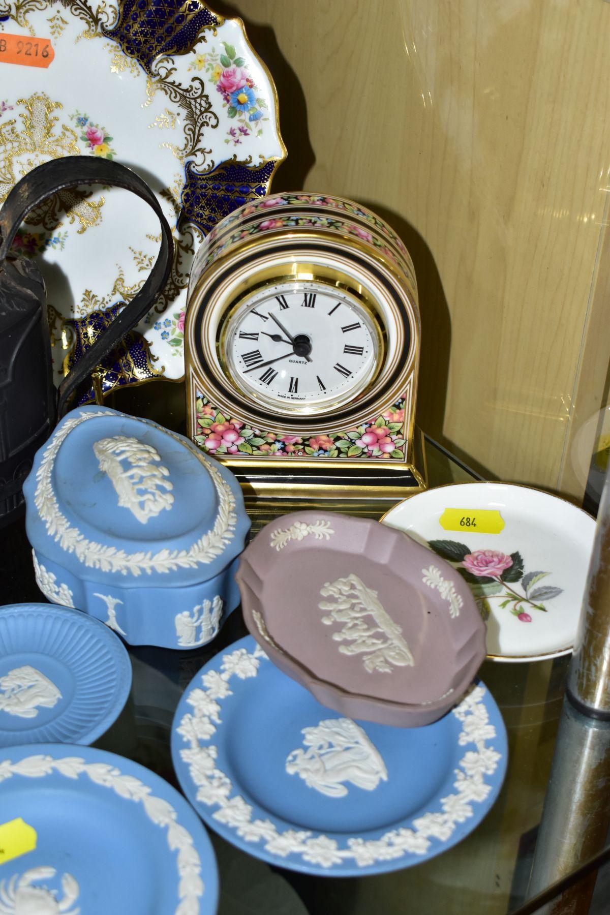 CERAMICS to include blue jasper ware trinkets, etc, Wedgwood Clio clock, black basalt teapot with - Image 2 of 8