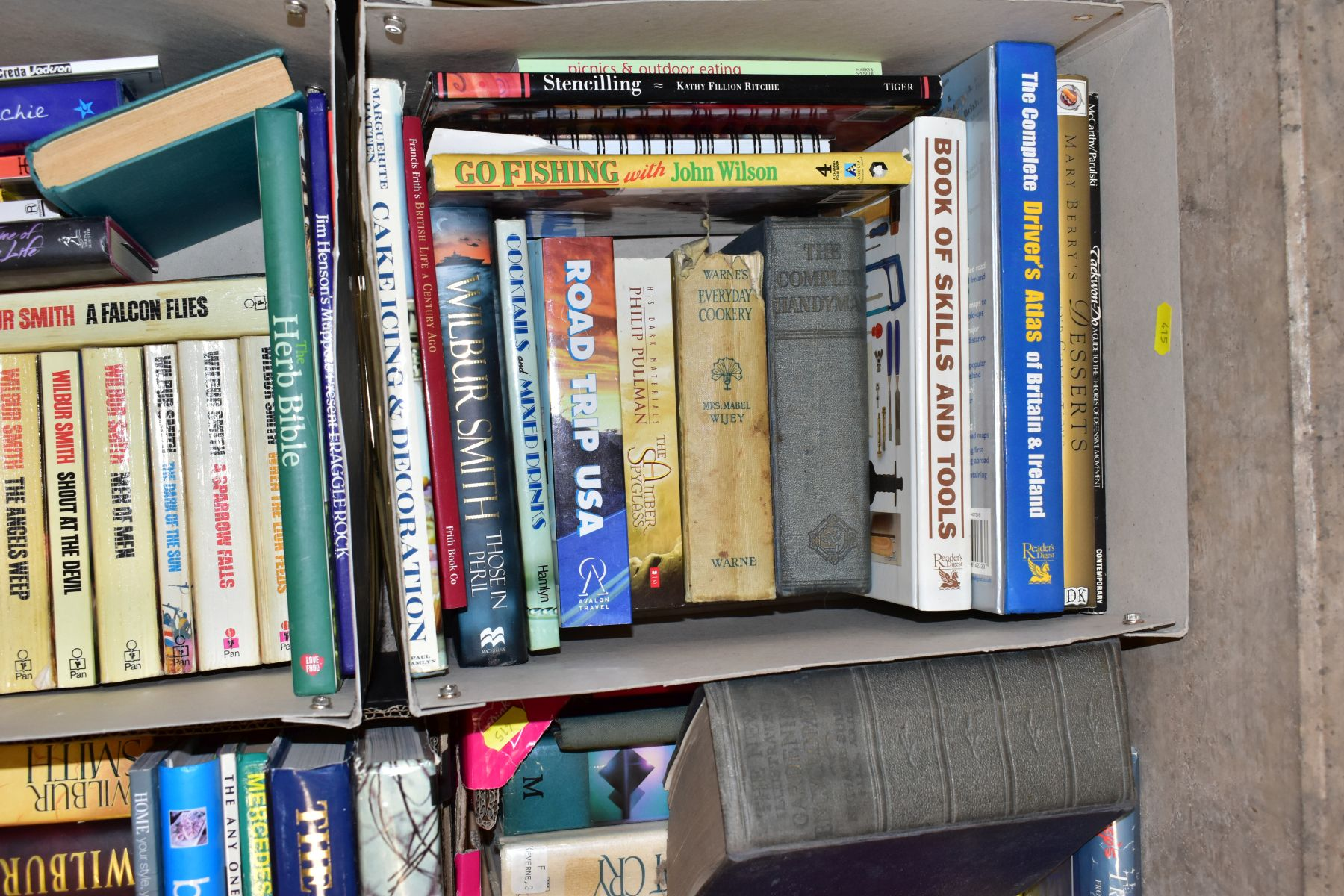 SEVEN BOXES OF ASSORTED BOOKS, including novels, cookery books, DIY books, motoring interest etc, - Image 5 of 8