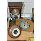 TWO MANTEL CLOCKS AND A BAROMETER, comprising an Edwardian portico mahogany stained mantel clock,