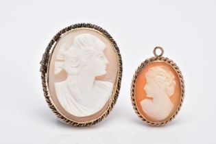 A 9CT GOLD CAMEO PENDANT AND A YELLOW METAL CAMEO BROOCH, the pendant of an oval form, depicting a