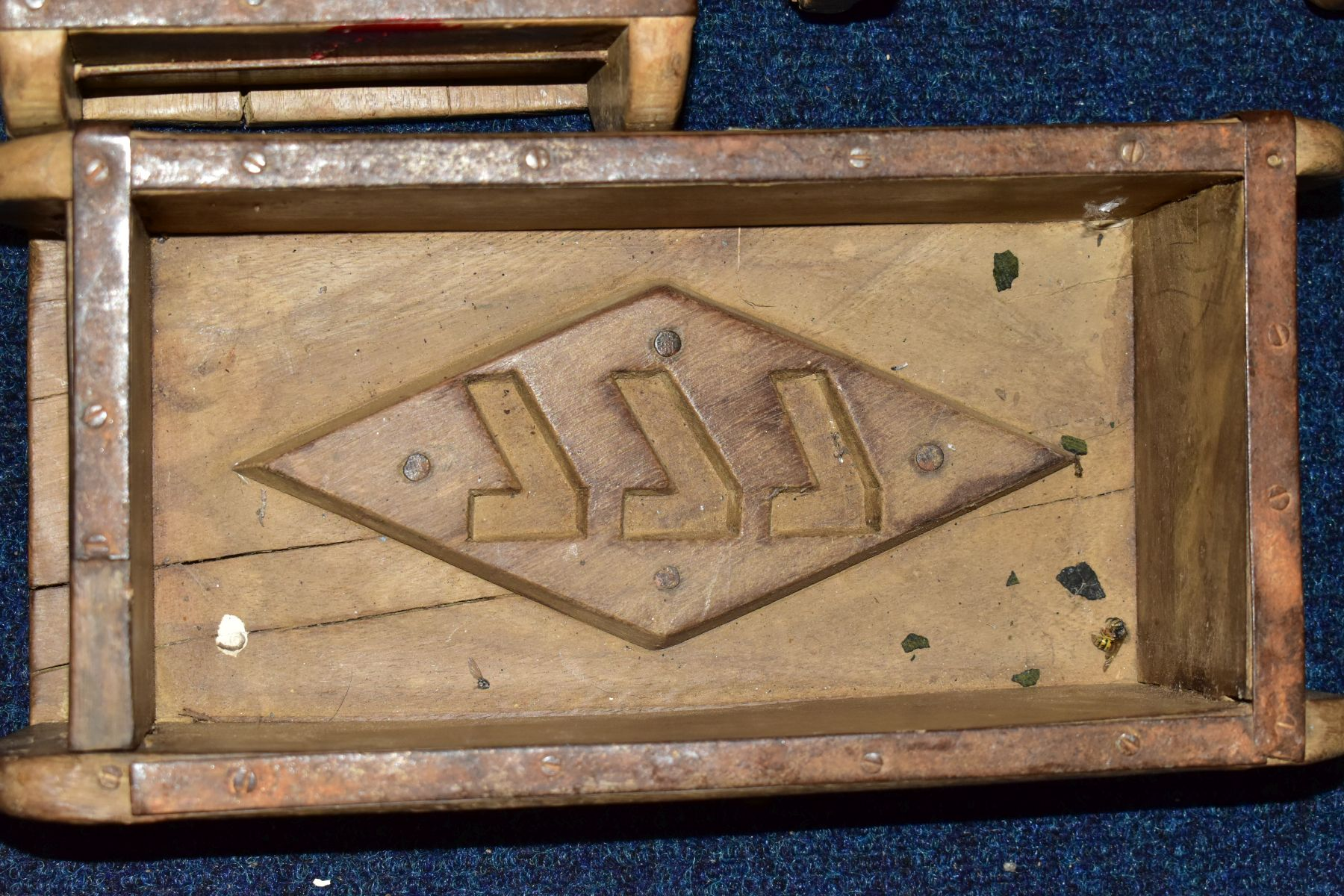 FIVE WOODEN AND METAL BOUND BRICKMAKERS MOULDS, all five with initials/numbers to the interiors, - Image 4 of 5