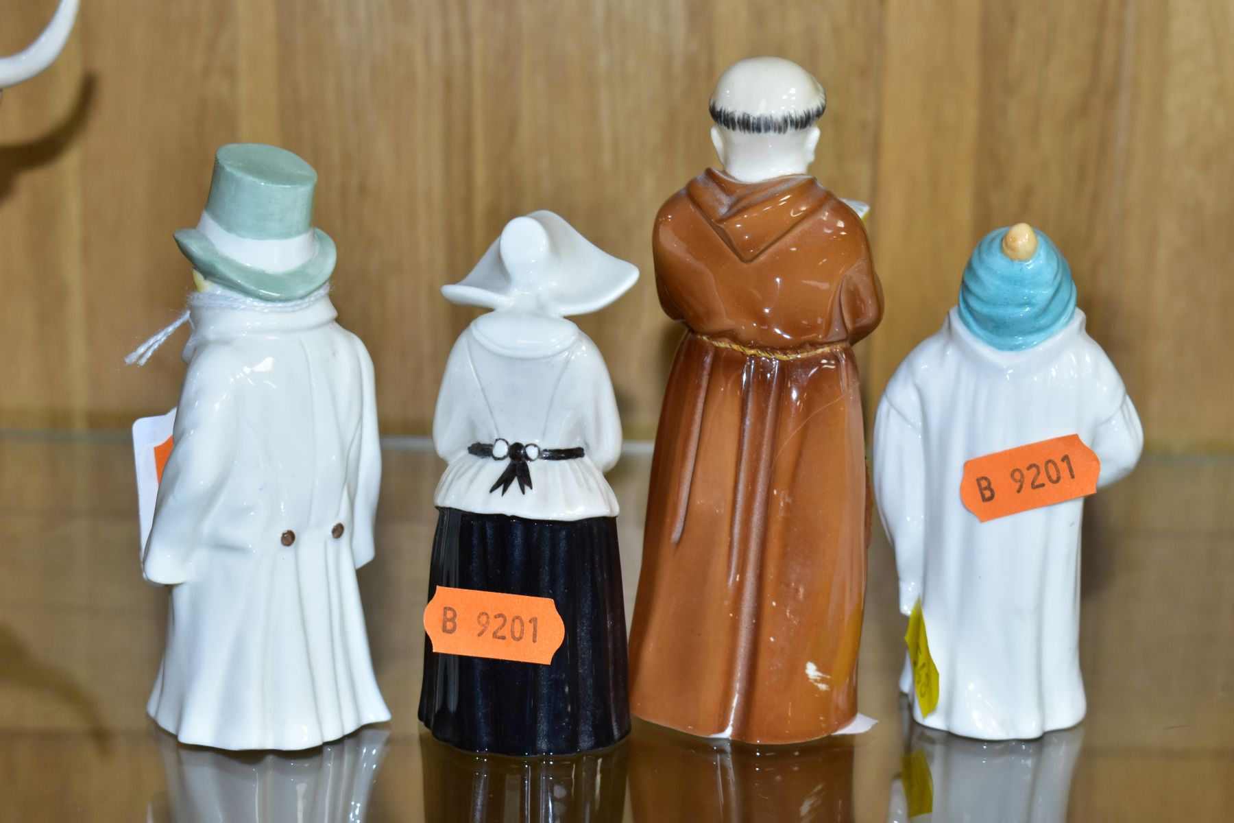 FOUR ROYAL WORCESTER CANDLE SNUFFERS, 'Budge', 'Toddie', a nun and a monk (cracked), tallest - Image 3 of 6