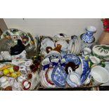 FOUR BOXES AND LOOSE CERAMICS AND GLASSWARE, including Italian ceramics, a Portmeirion Pomona