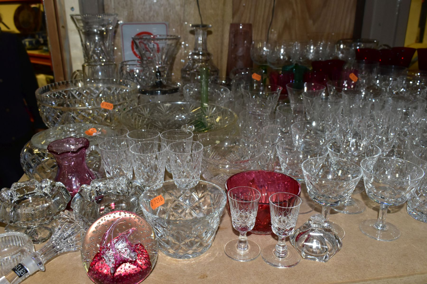 A QUANTITY OF GLASSWARE, including a Waterford Crystal quartz mantel clock, height 11cm, coloured - Image 2 of 9