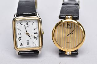 TWO LADIES QUARTZ WRISTWATCHES, the first designed with a round two tone stripped dial signed '