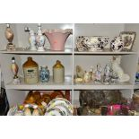 SIX BOXES AND LOOSE CERAMICS AND GLASS etc to include a pair of ceramic figures bearing marks for
