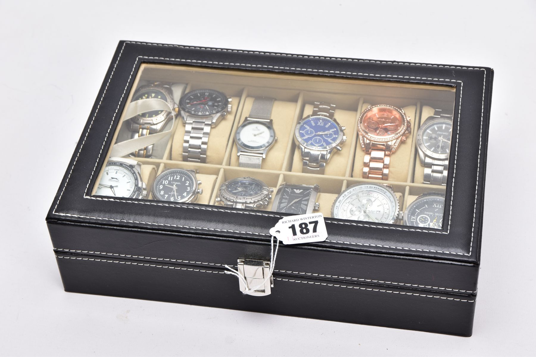 A WATCH DISPLAY CASE WITH WATCHES, a black and glass panelled watch display case with twelve watches - Image 4 of 4