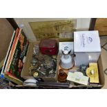 A BOX CONTAINING LP's, COMMEMORATIVE CERAMICS, FRAMED PRINT AND PHOTOGRAPH, FURNITURE DRAWER