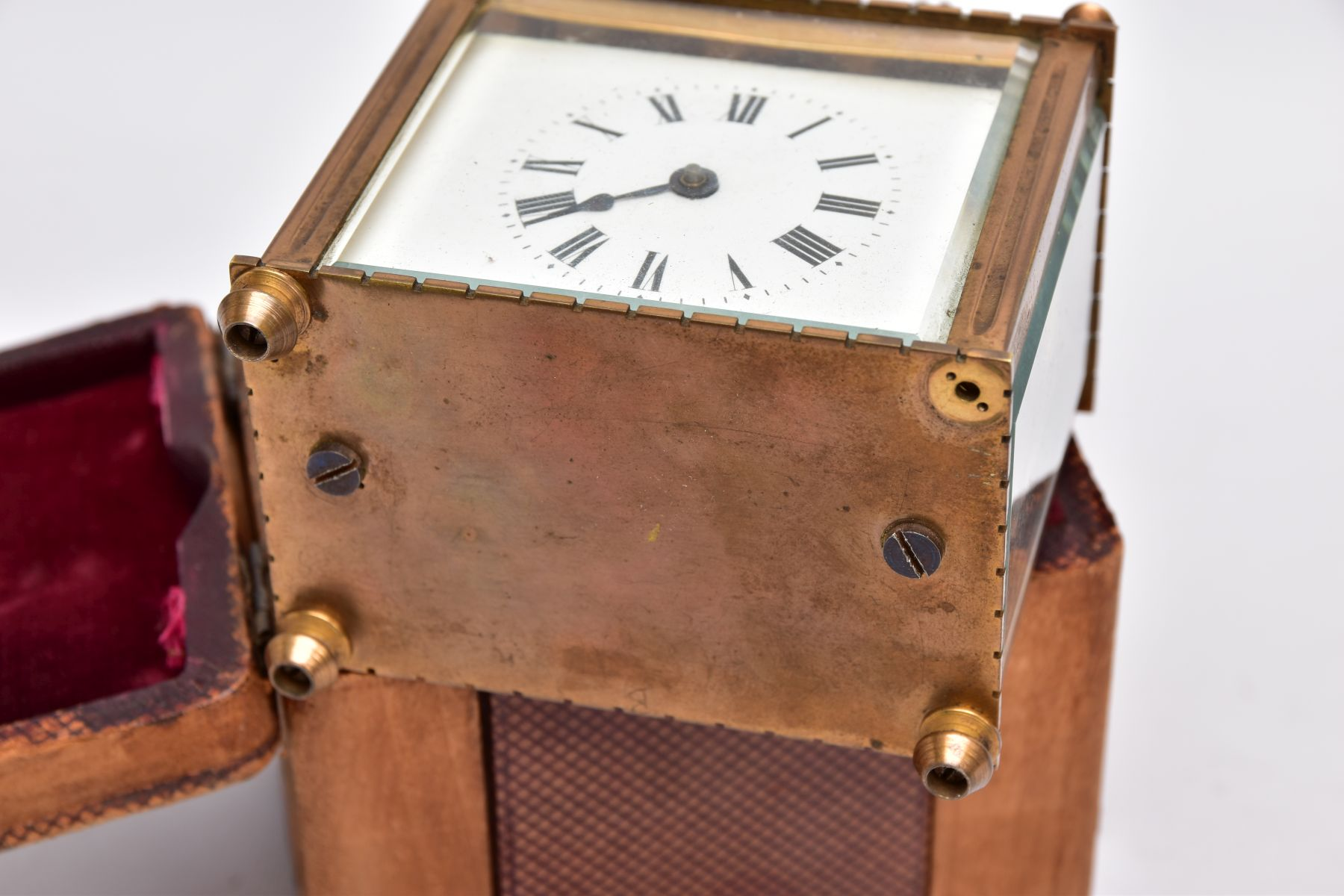 A SMALL LEATHER CASED BRASS TRAVEL CARRIAGE CLOCK, glass panels, white dial with roman numerals, - Image 6 of 8