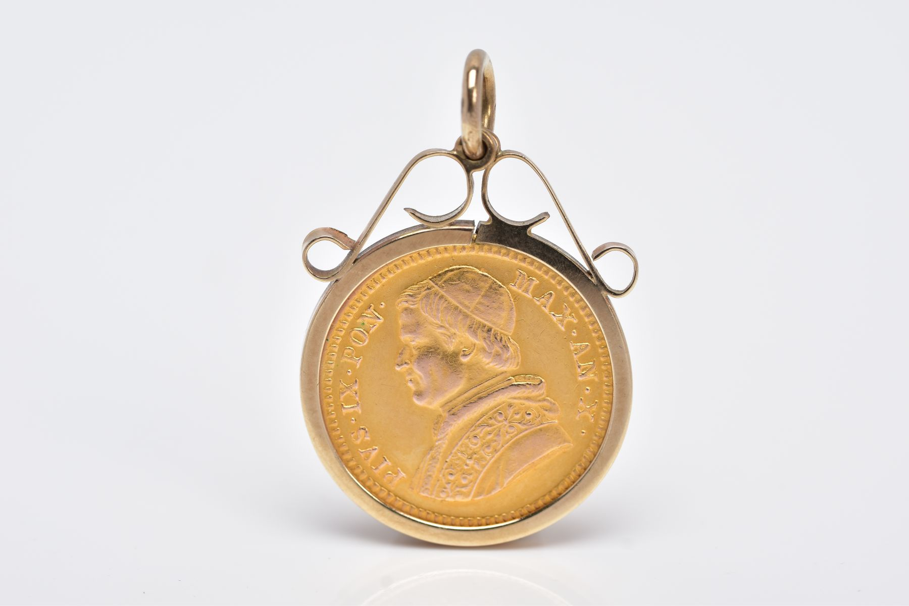 A MOUNTED 2.5 SCUDI COIN PENDANT, dated '1855', to the obverse depicts 'PIVS IX PON MAX AN X', - Image 2 of 4