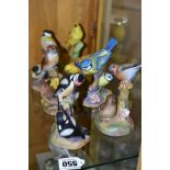 SIX ROYAL WORCESTER BIRD FIGURE GROUPS, comprising Pied Woodpeckers RW3363, Chaffinches RW3364,
