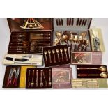 A BOX CONTAINING VARIOUS FLATWARE AND ASSORTED CUTLERY, to include cased silver plated butter