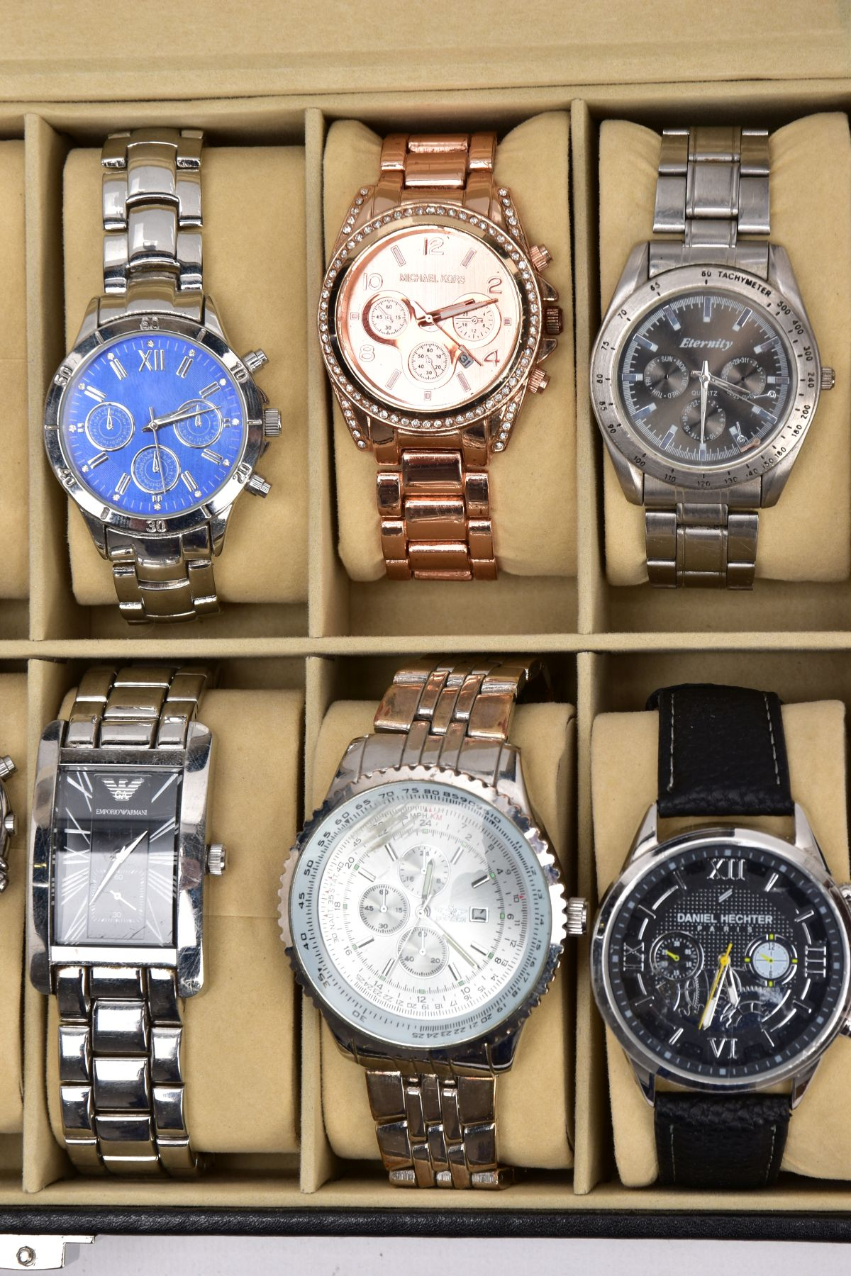 A WATCH DISPLAY CASE WITH WATCHES, a black and glass panelled watch display case with twelve watches - Image 2 of 4