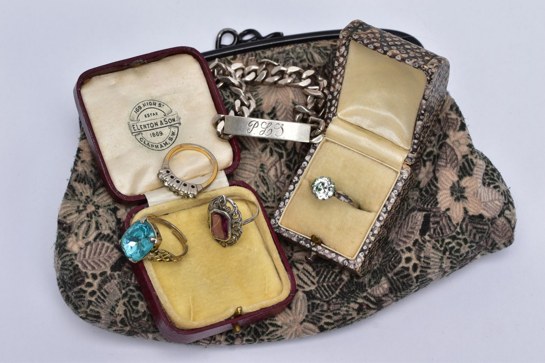 A COLLECTION OF SILVER AND COSTUME JEWELLERY ITEMS, to include a hallmarked silver identity