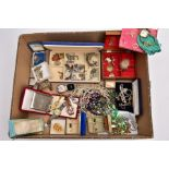 A BOX OF ASSORTED ITEMS, to include a blue velvet jewellery box with contents such as a silver St.