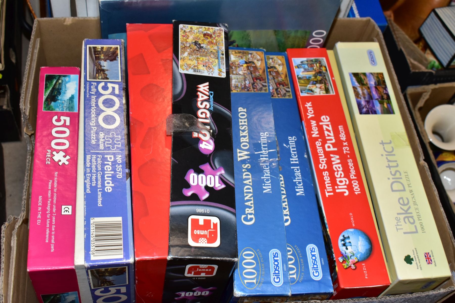 TWO BOXES OF BOXED JIGSAWS, including Gibsons 1000 piece 'Grandads Workshop', Jumbo 1000 pieces - Image 2 of 3