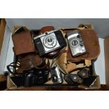 A BOX OF CAMERAS AND BINOCULARS, to include a Rolleicord Compur camera in leather case, an Ensign