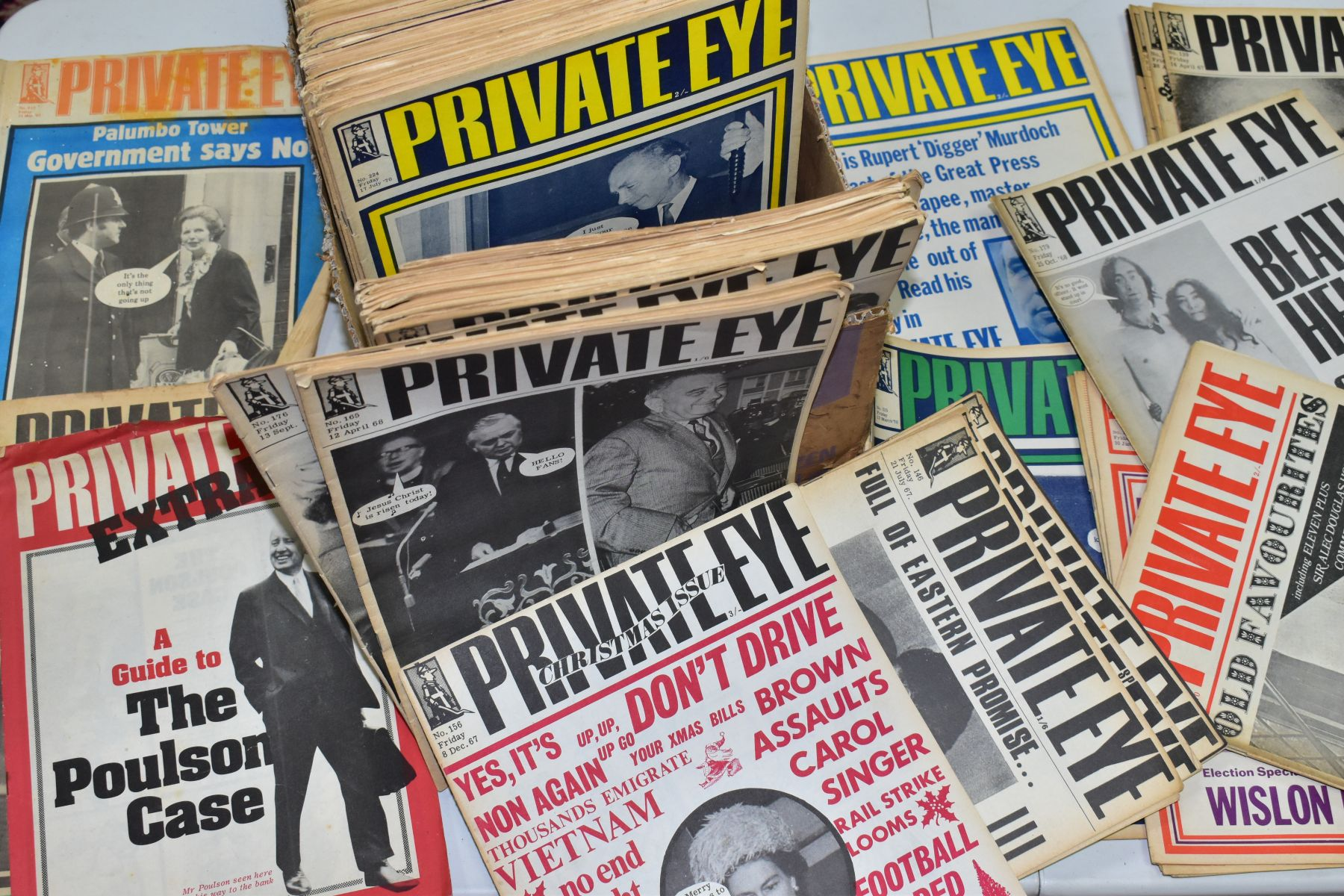 PRIVATE EYE MAGAZINE, a collection of 188 copies of Private Eye, 184 editions from 1966-1974,