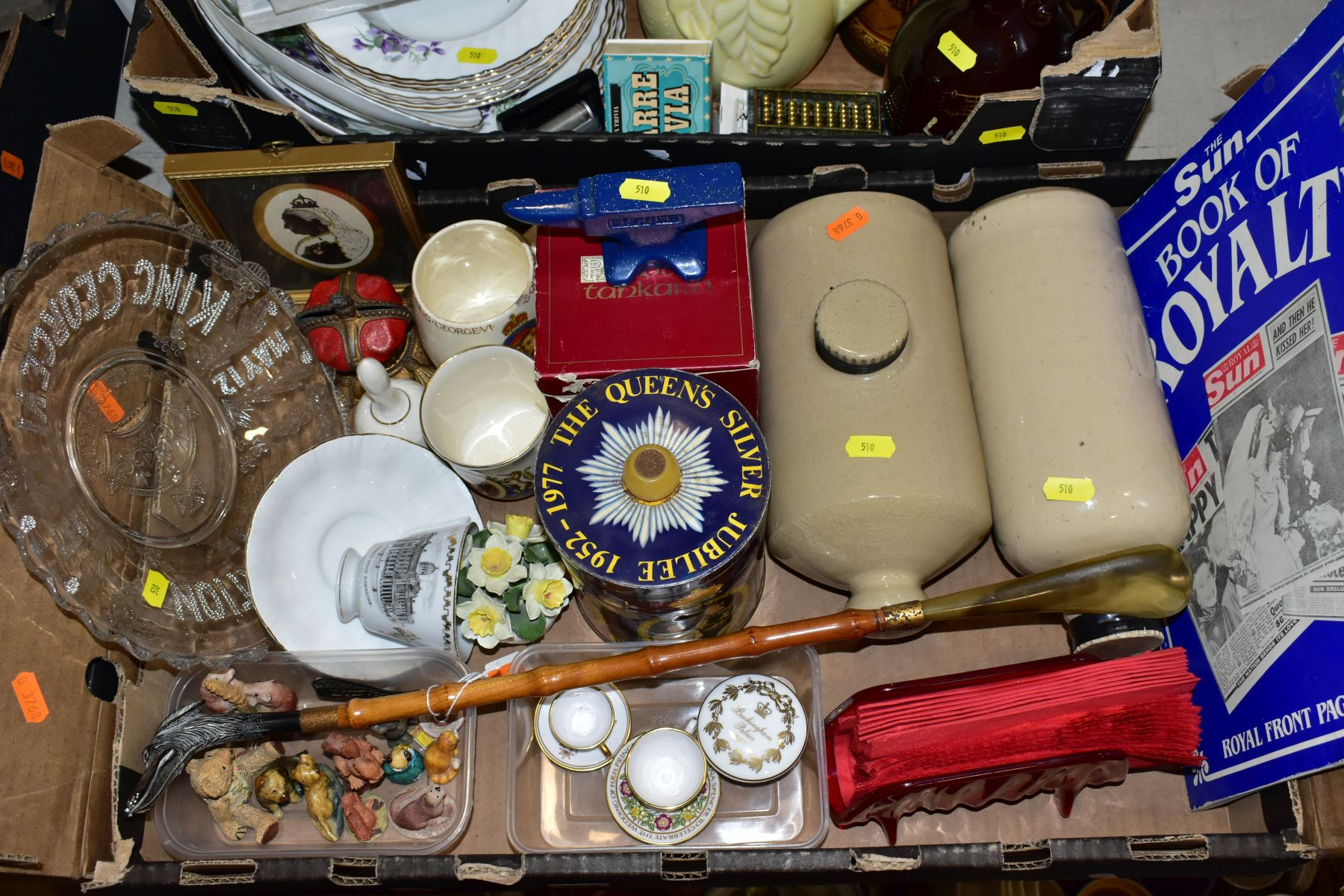 TWO BOXES OF CERAMICS AND SUNDRY ITEMS, ETC, to include Mayfair bone china part dinner service, - Image 2 of 10