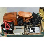 A BOX OF CASED AND LOOSE BINOCULARS, ELECTRICAL METERS, COINS, ETC, including a mid 20th century