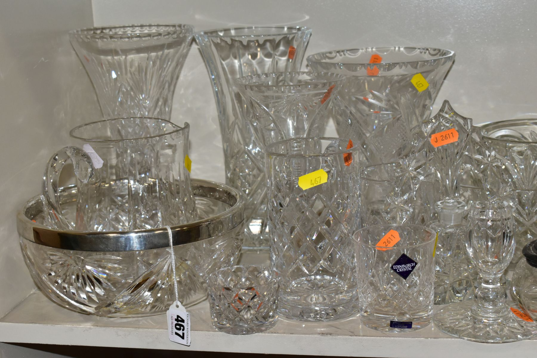 A GROUP OF CUT AND COLOURED GLASSWARES, to include a silver rimmed bowl, diameter 21cm, a Royal