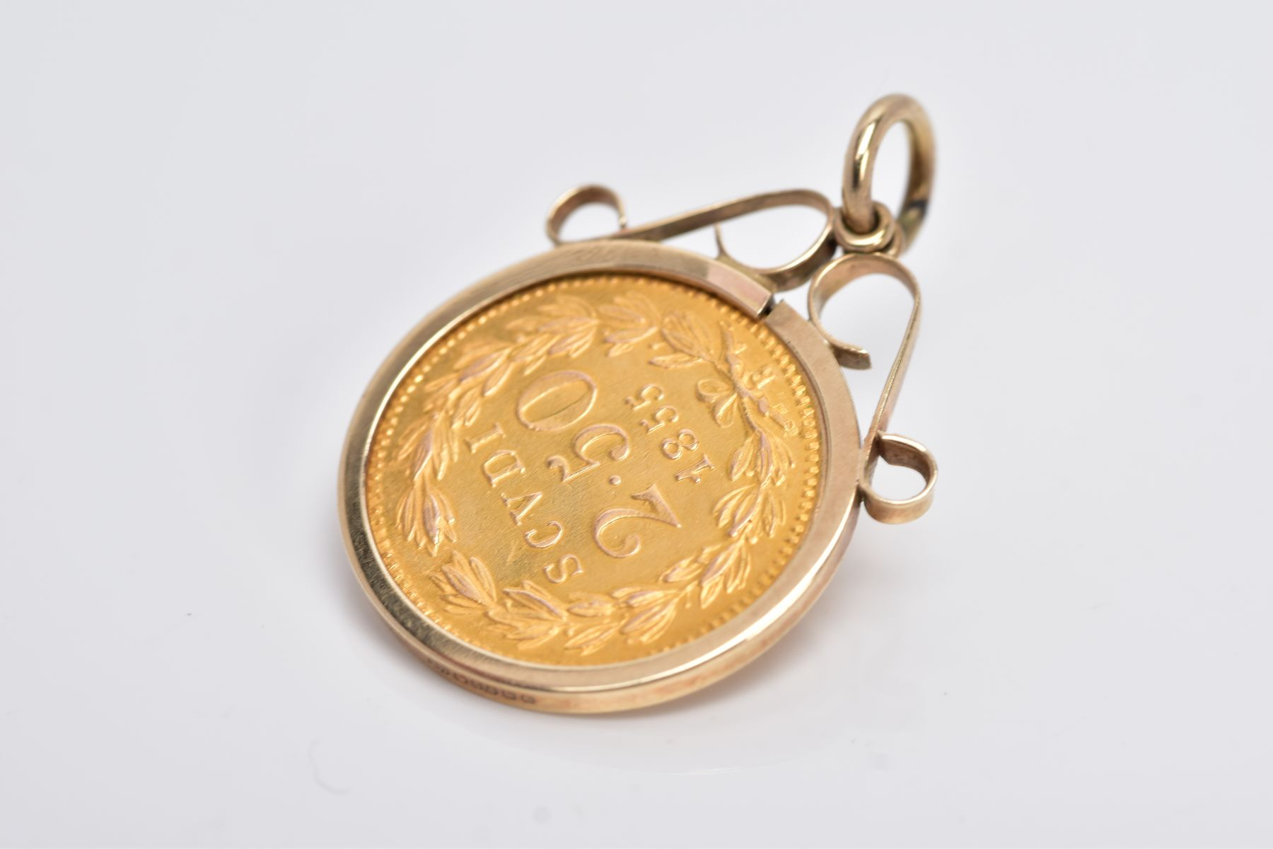 A MOUNTED 2.5 SCUDI COIN PENDANT, dated '1855', to the obverse depicts 'PIVS IX PON MAX AN X', - Image 4 of 4