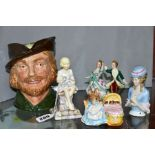 A SMALL GROUP OF ORNAMENTAL CERAMICS, comprising a Royal Worcester 'Sunshine' figure modelled by