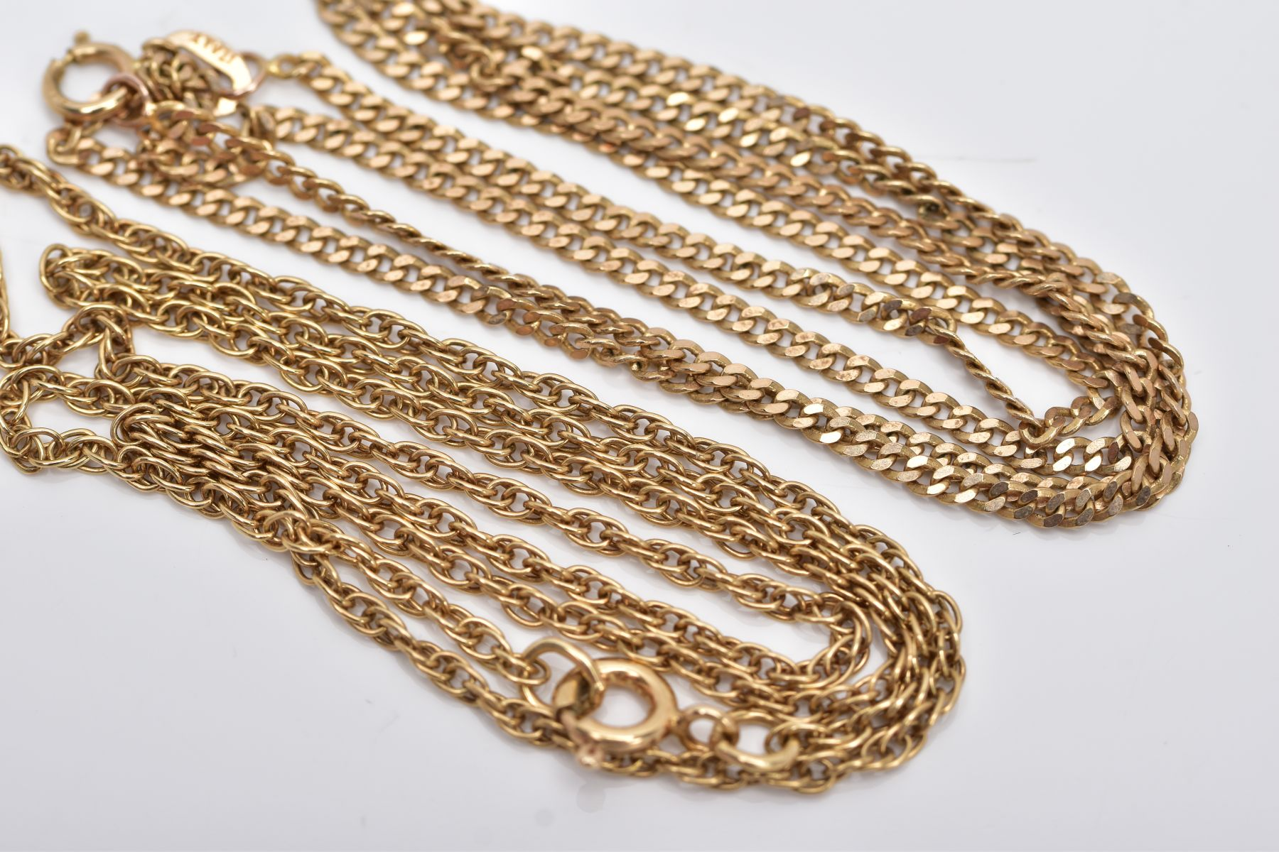 TWO 9CT GOLD CHAINS, the first a Prince of Wales chain, fitted with a spring clasp, hallmarked 9ct - Image 2 of 2
