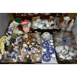 FIVE BOXES AND LOOSE CERAMICS AND GLASSWARE, ETC, including two damaged Royal Doulton figures, a