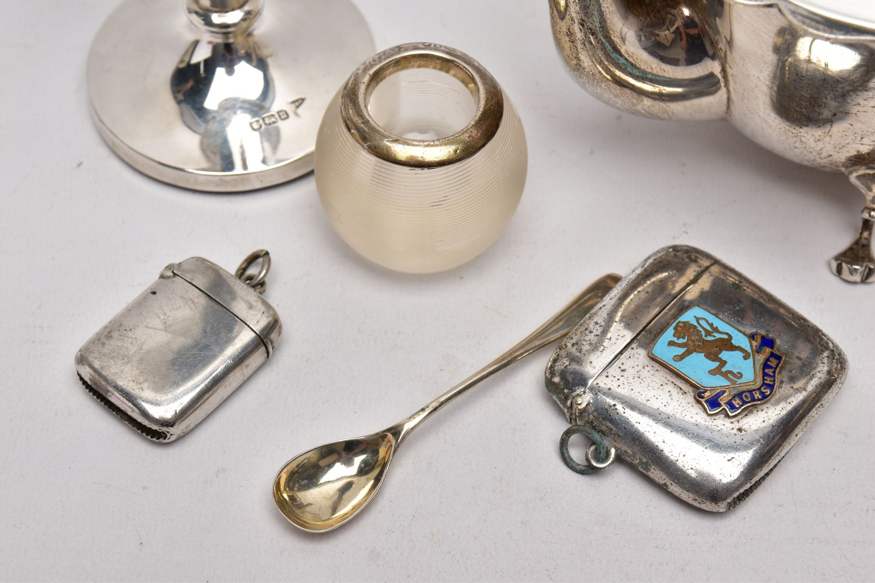 A SELECTION OF SILVER AND WHITE METAL ITEMS, to include an early 20th century AF silver teapot, wavy - Image 2 of 7