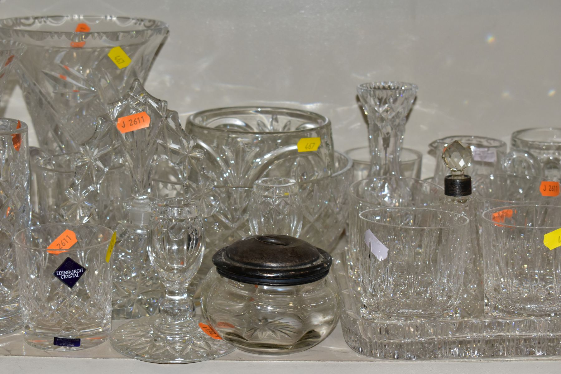 A GROUP OF CUT AND COLOURED GLASSWARES, to include a silver rimmed bowl, diameter 21cm, a Royal - Image 2 of 11