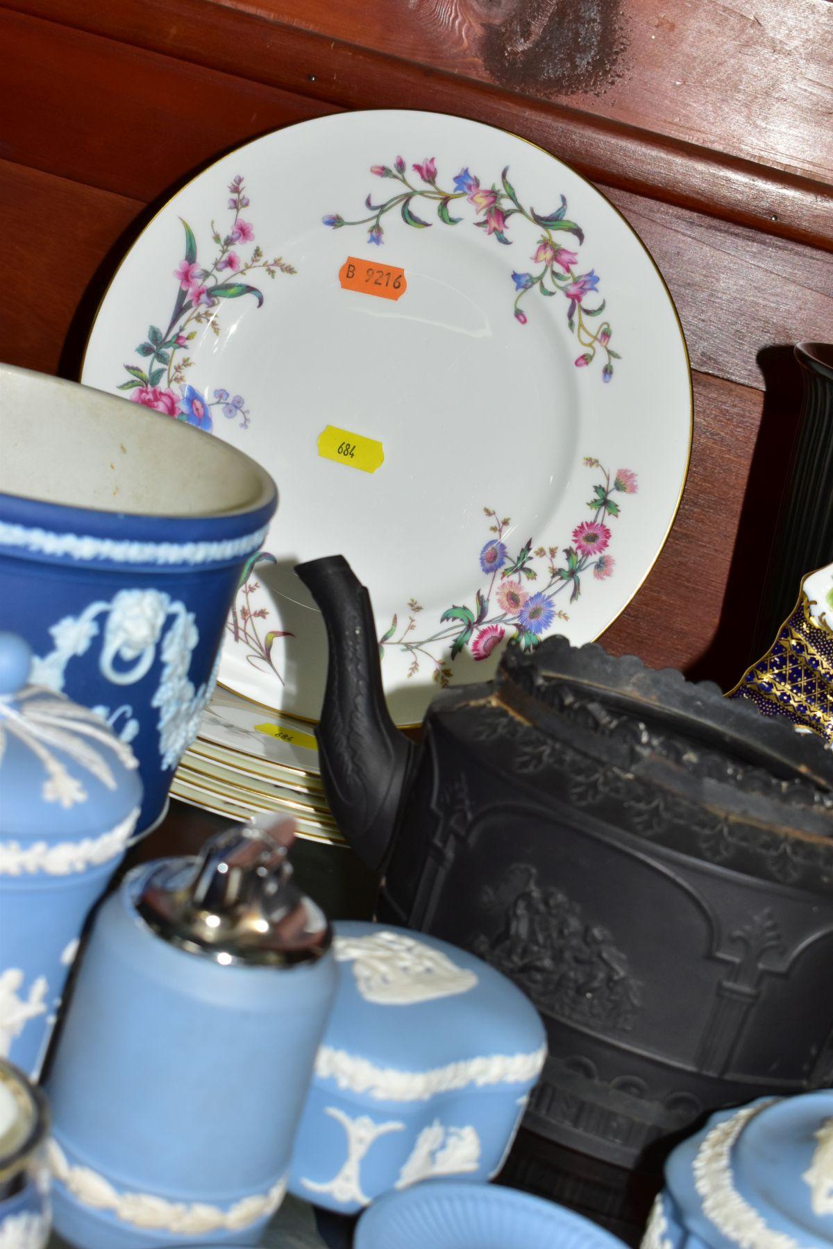 CERAMICS to include blue jasper ware trinkets, etc, Wedgwood Clio clock, black basalt teapot with - Image 7 of 8