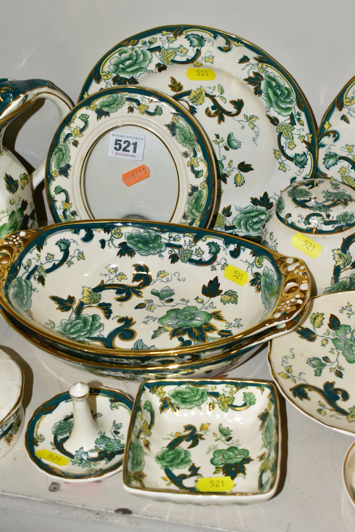 A COLLECTION OF MASONS IRONSTONE 'CHARTREUSE' PATTERN PLATES, JUGS, BOWLS, GINGER JARS, etc, - Image 4 of 7