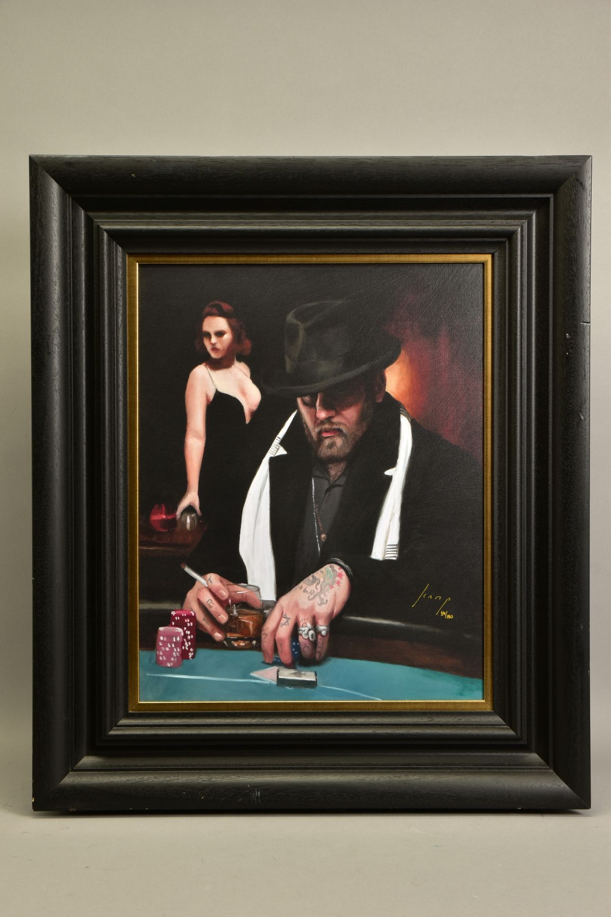 VINCENT KAMP (BRITISH CONTEMPORARY) 'NOT DONE YET' a limited edition print of a gambler in a