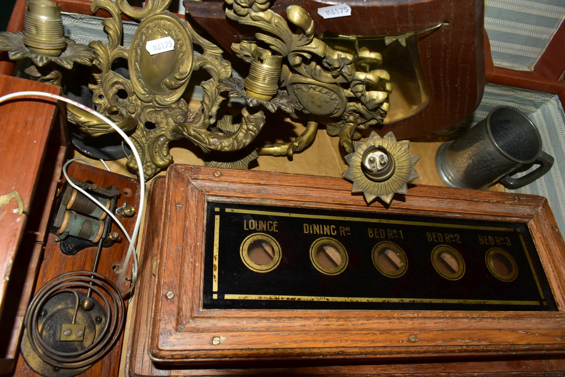 A BROWN LEATHER COVERED SUITCASE OF COLLECTABLES including servants bell board, etc, and a - Image 6 of 7