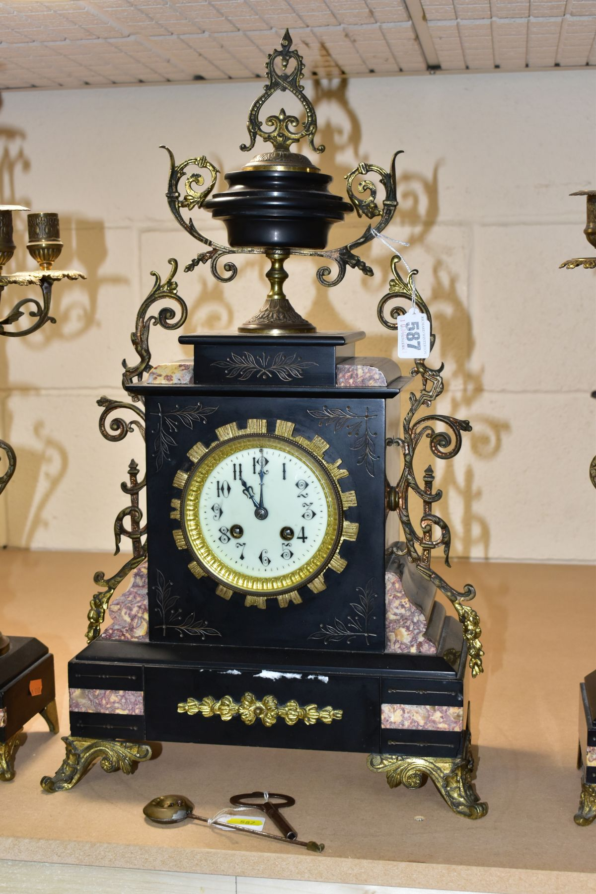 A LATE 19TH CENTURY BLACK SLATE, MARBLE AND GILT METAL CLOCK GARNITURE, the clock with urn shaped - Image 4 of 13