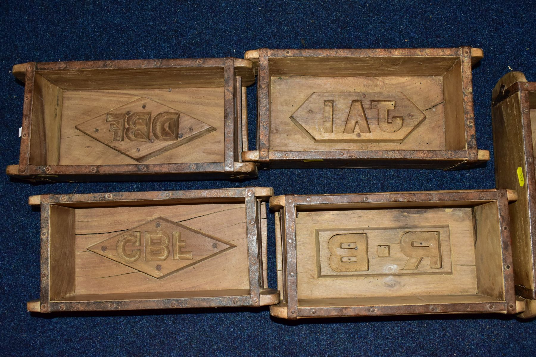 FIVE WOODEN AND METAL BOUND BRICKMAKERS MOULDS, all five with initials/numbers to the interiors, - Image 3 of 5
