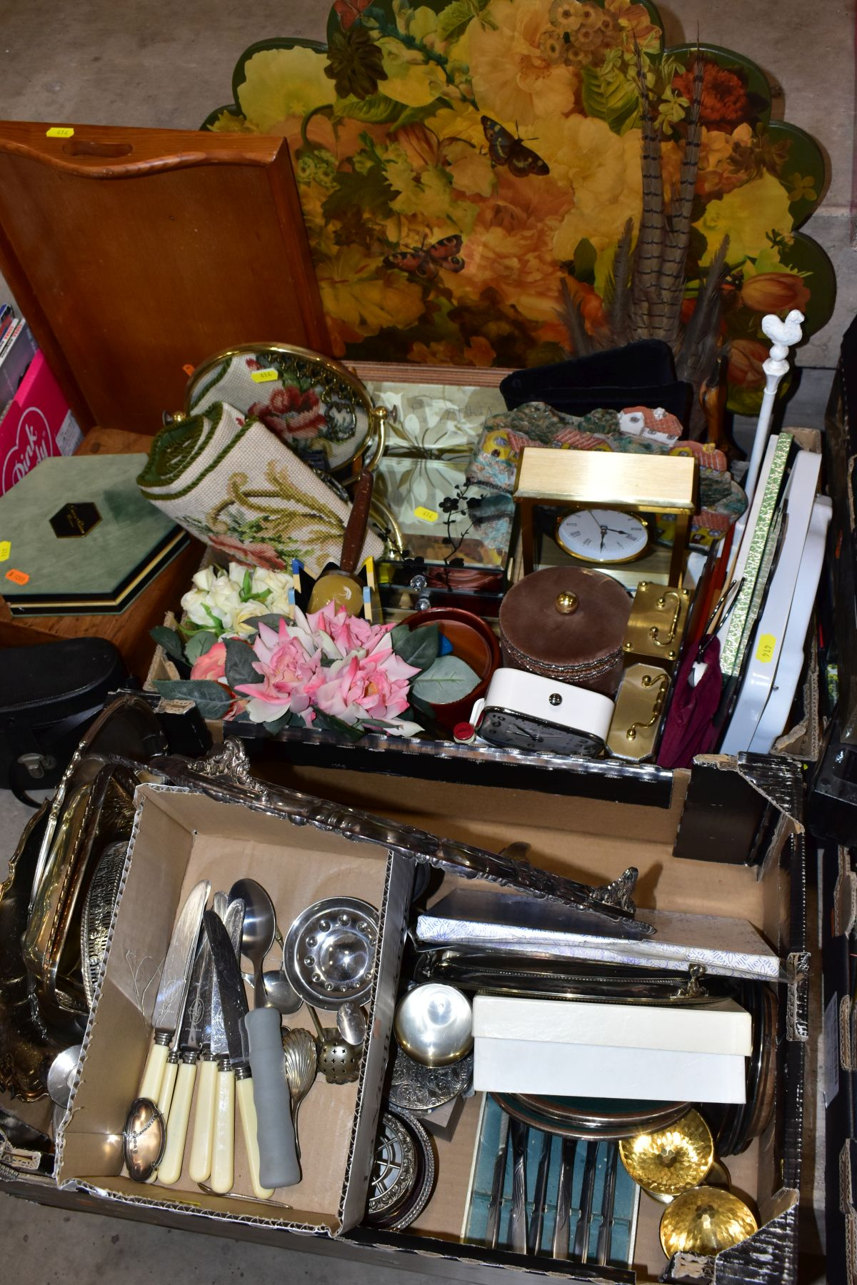 TWO BOXES AND LOOSE OF METALWARE, TREEN, MISCELLANEOUS ITEMS, ETC, including EPNS trays and galeried