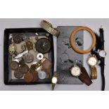 A BOX OF ASSORTED ITEMS, to include a Victorian silver sweetheart brooch of a circular form,