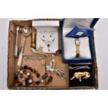 A BOX OF ASSORTED ITEMS, to include a ladies boxed 'Rotary' wristwatch (needs battery), a white