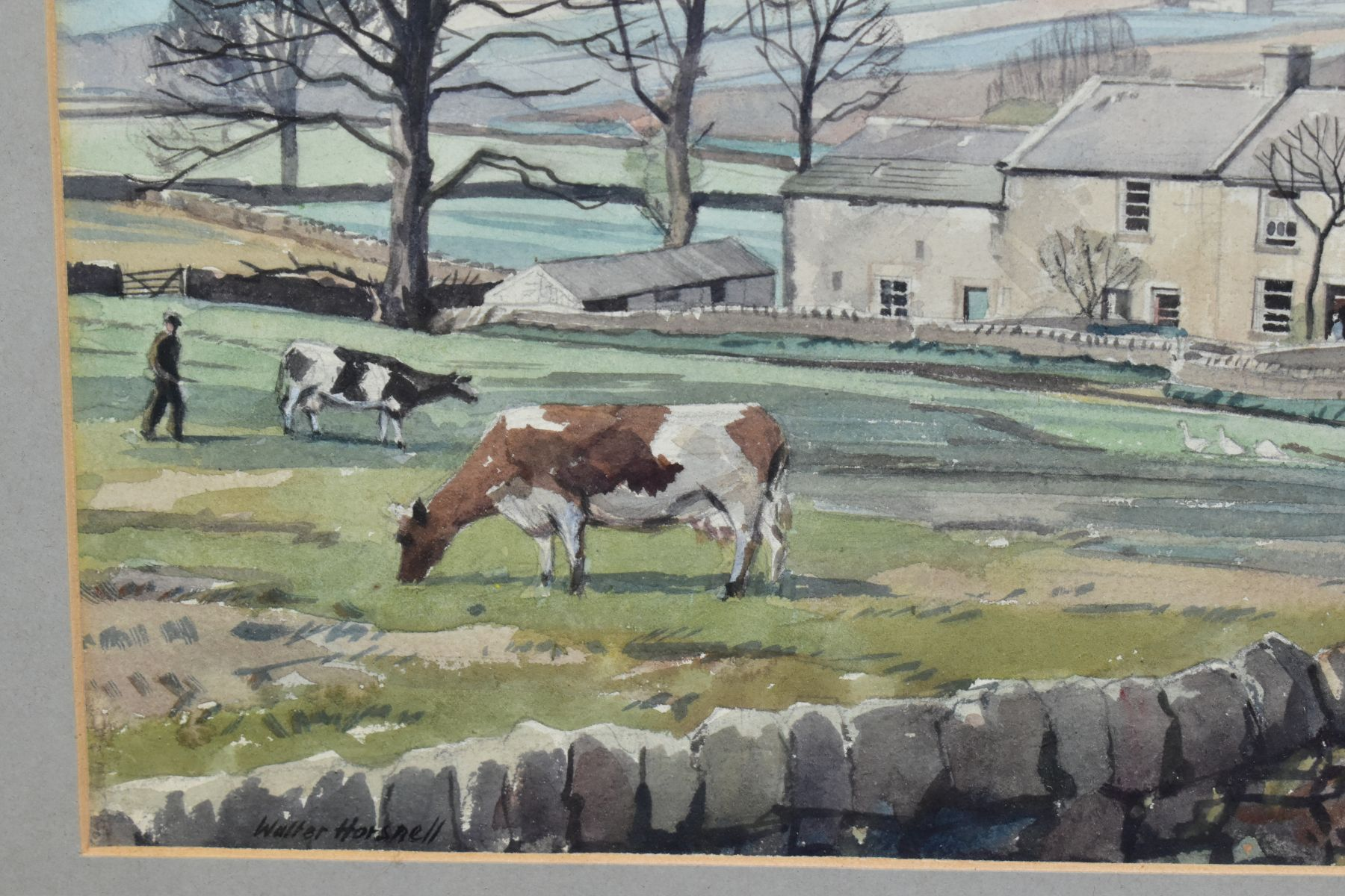 WALTER HORSNELL (1911-1997) a rural landscape with farm buildings to the mid distance, signed bottom - Image 3 of 4