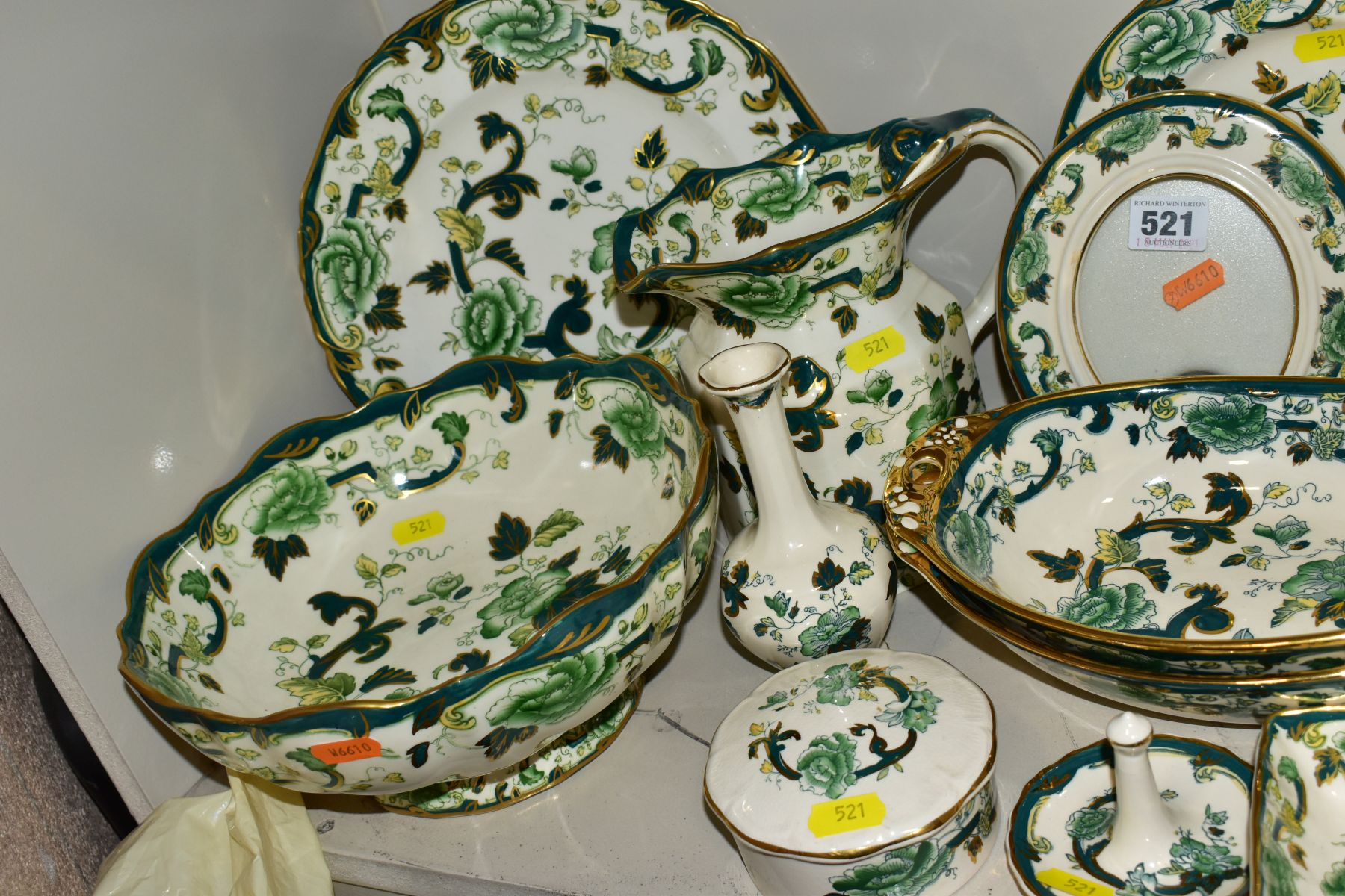 A COLLECTION OF MASONS IRONSTONE 'CHARTREUSE' PATTERN PLATES, JUGS, BOWLS, GINGER JARS, etc, - Image 2 of 7